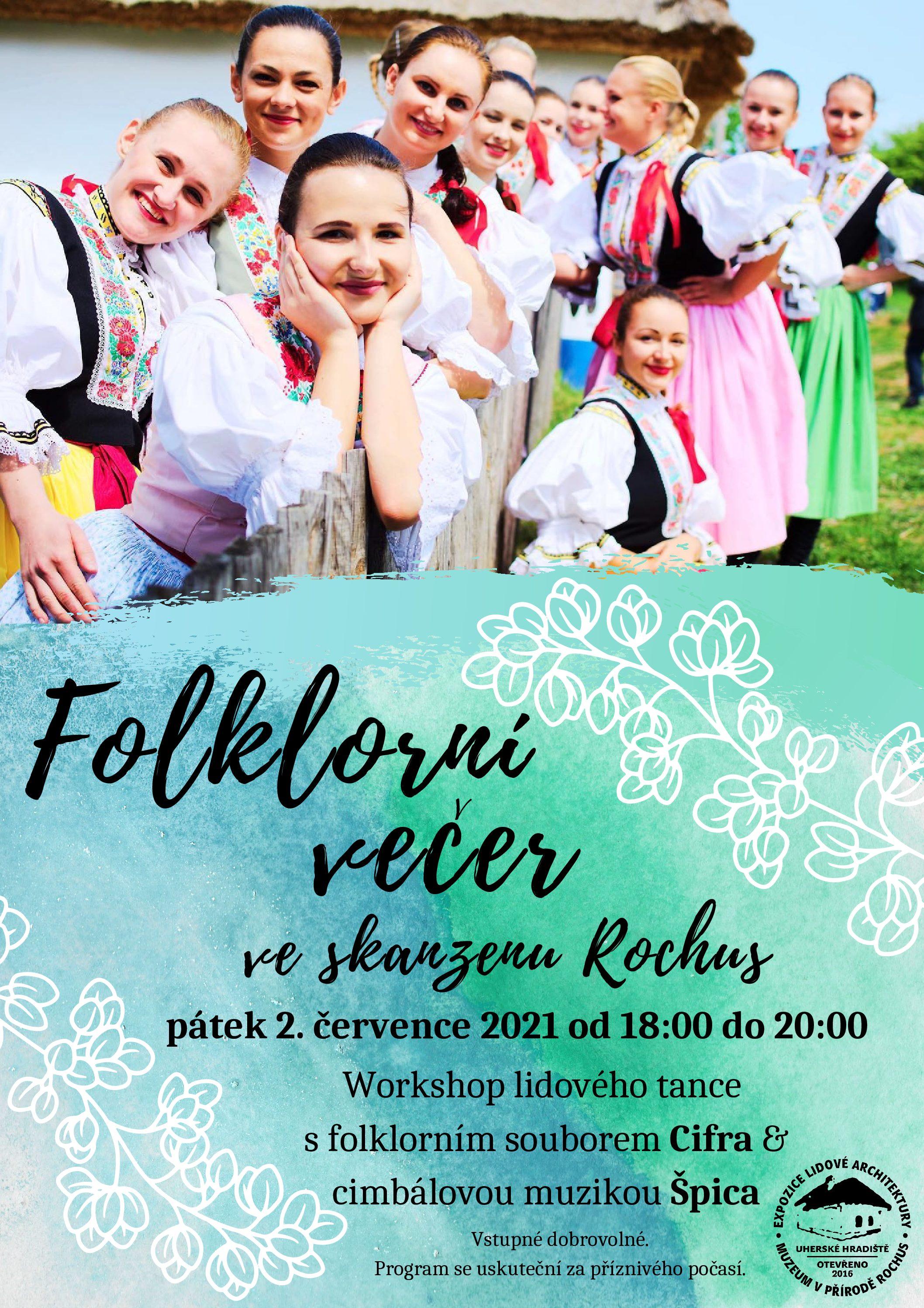 Workshop lidového tance ve skanzenu Rochus (Folklorní večer)